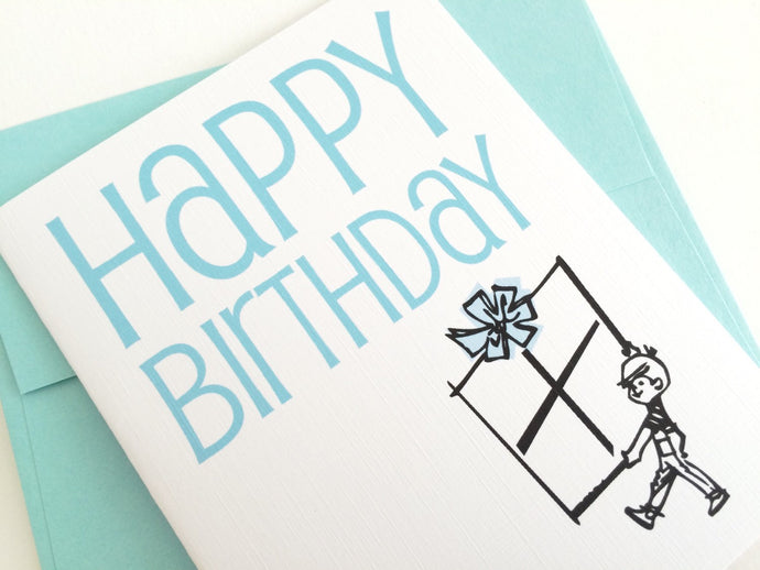 Retro Happy Birthday Card. Birthday Card for Anyone. Mid Century Birthday Card.