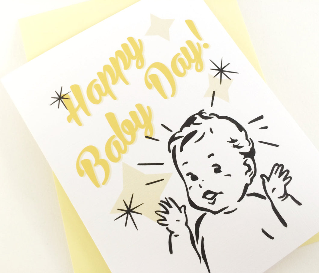 Happy Baby Day Card. New Baby Card. Baby Shower Card. New Mom Card