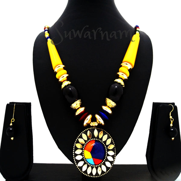 Classy Yellow Mosaic Necklace