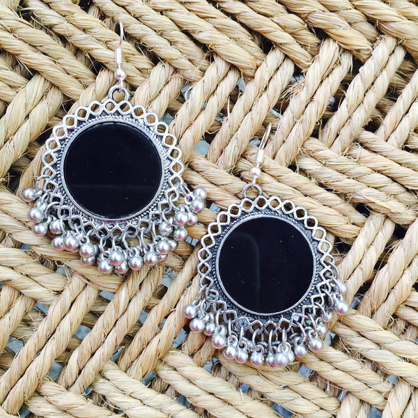 Fashionable Mirror Oxidized Earrings