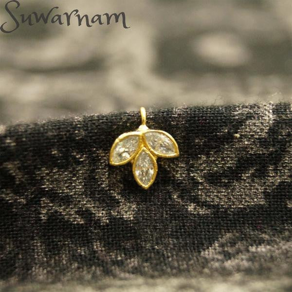 Leaf CZ Press Style Nose Ring / Indian Bridal Nath