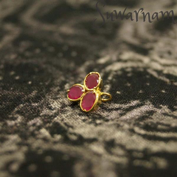 Ruby Press Style Nose Ring / Indian Bridal Nath
