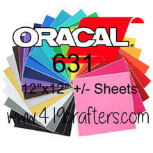 "Oracal 631 Adhesive Craft REMOVABLE Vinyl Standard Colors 12""x12"" +/-"
