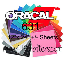 "Oracal 631 Adhesive REMOVABLE Craft Vinyl Standard Colors 12""x24"" +/-"