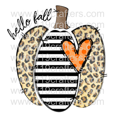 White Toner Laser Print  - Hello Fall Stripe and Leopard Pumpkin