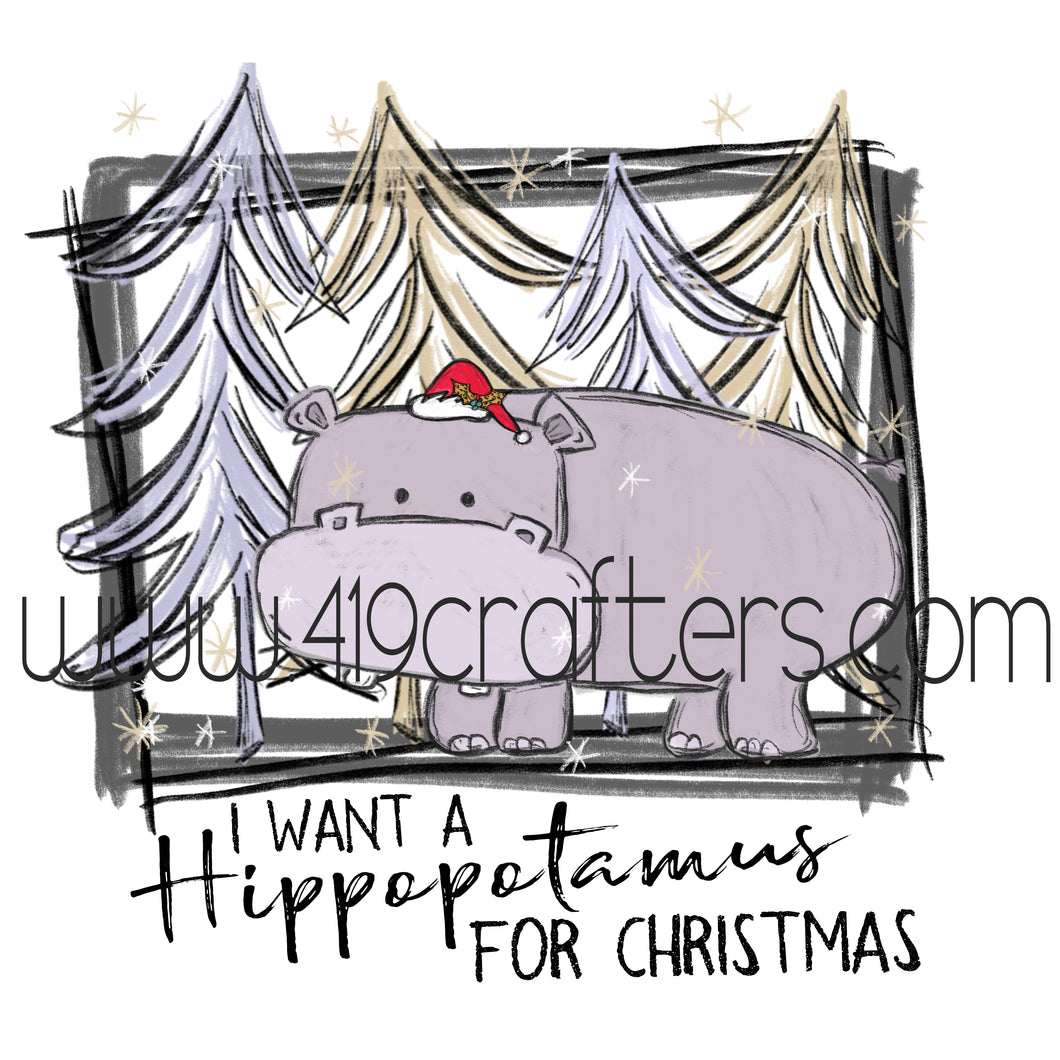 White Toner Laser Print - Hippopotamus for Christmas