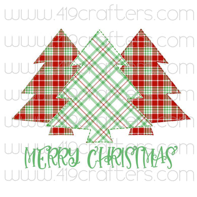 White Toner Laser Print - Plaid Trees