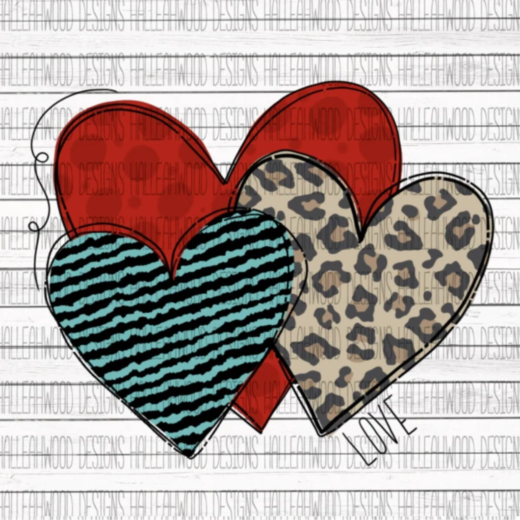 Sublimation Print - Hearts Love Leopard