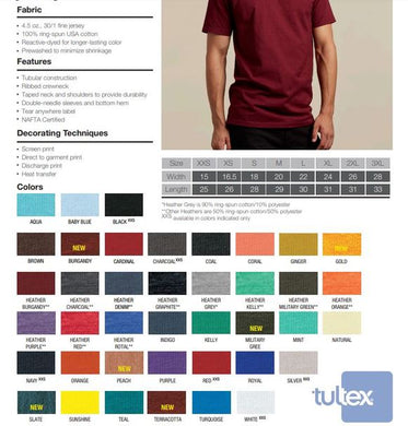 202TC - Tultex 100% Cotton Short Sleeve T XS-S