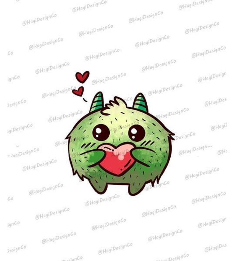 White Toner Laser Print  - Green Valentine Monster