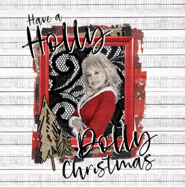 White Toner Laser Print - Holly Dolly Christmas