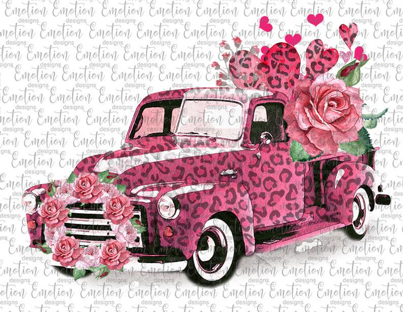 Sublimation Print - Pink Valentine Truck with Roses