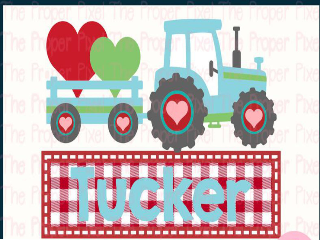 Sublimation Print - Valentine Tractor with Name