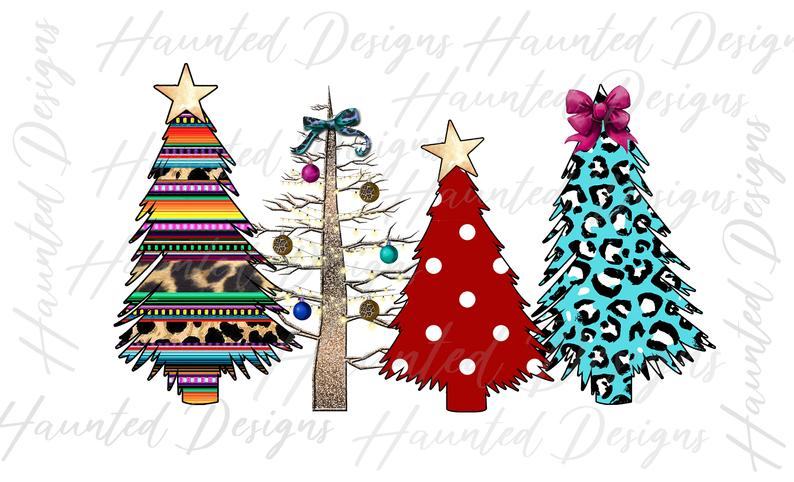 Sublimation Print - Wild Christmas Trees with Polka Dots