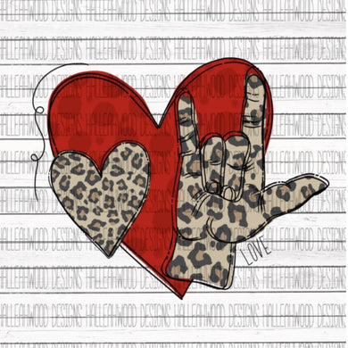 White Toner Laser Print  - Leopard Sign Language I Love You
