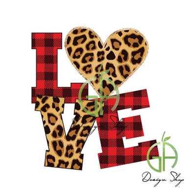 White Toner Laser Print  - Leopard Stacked LOVE