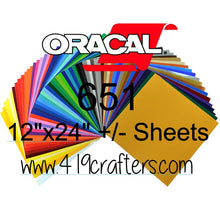 "Oracal 651 Adhesive PERMANENT Craft Vinyl Standard Colors 12""x24"" +/-"