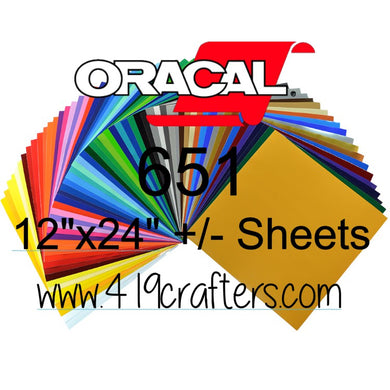 Oracal 651 Adhesive PERMANENT Craft Vinyl Standard Colors 12