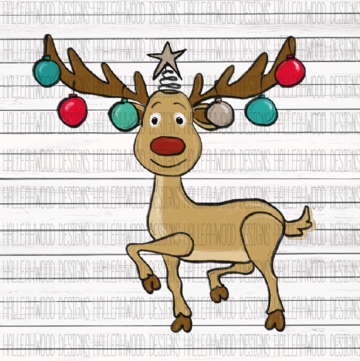 White Toner Laser Print - Rudolph Christmas Colors