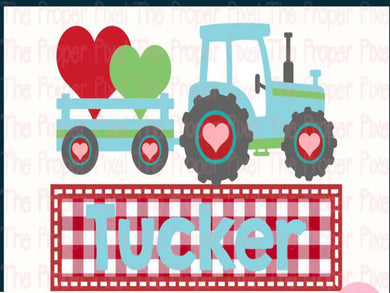 White Toner Laser Print  - Valentine Tractor with Name