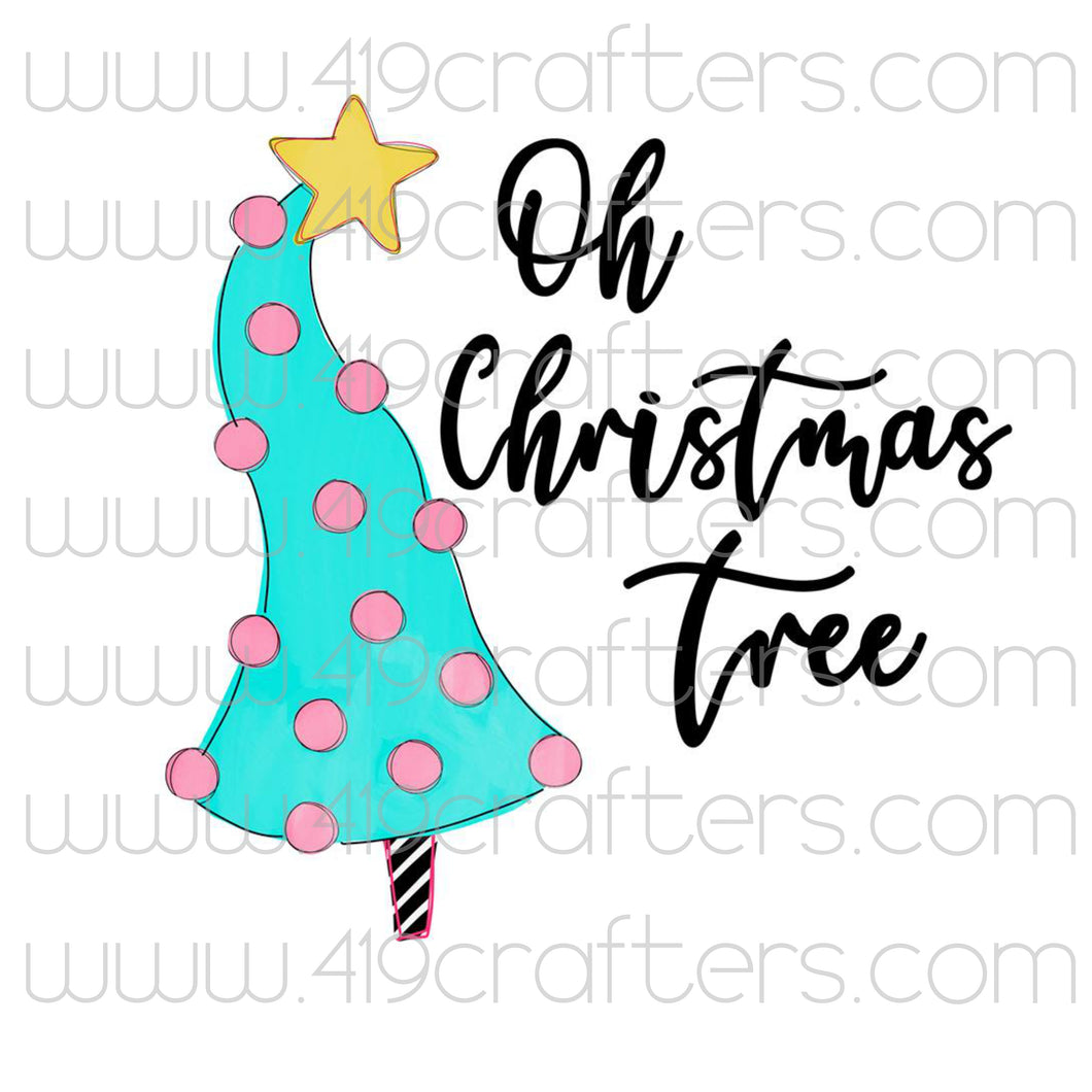 White Toner Laser Print - Whimsical Pink Tree