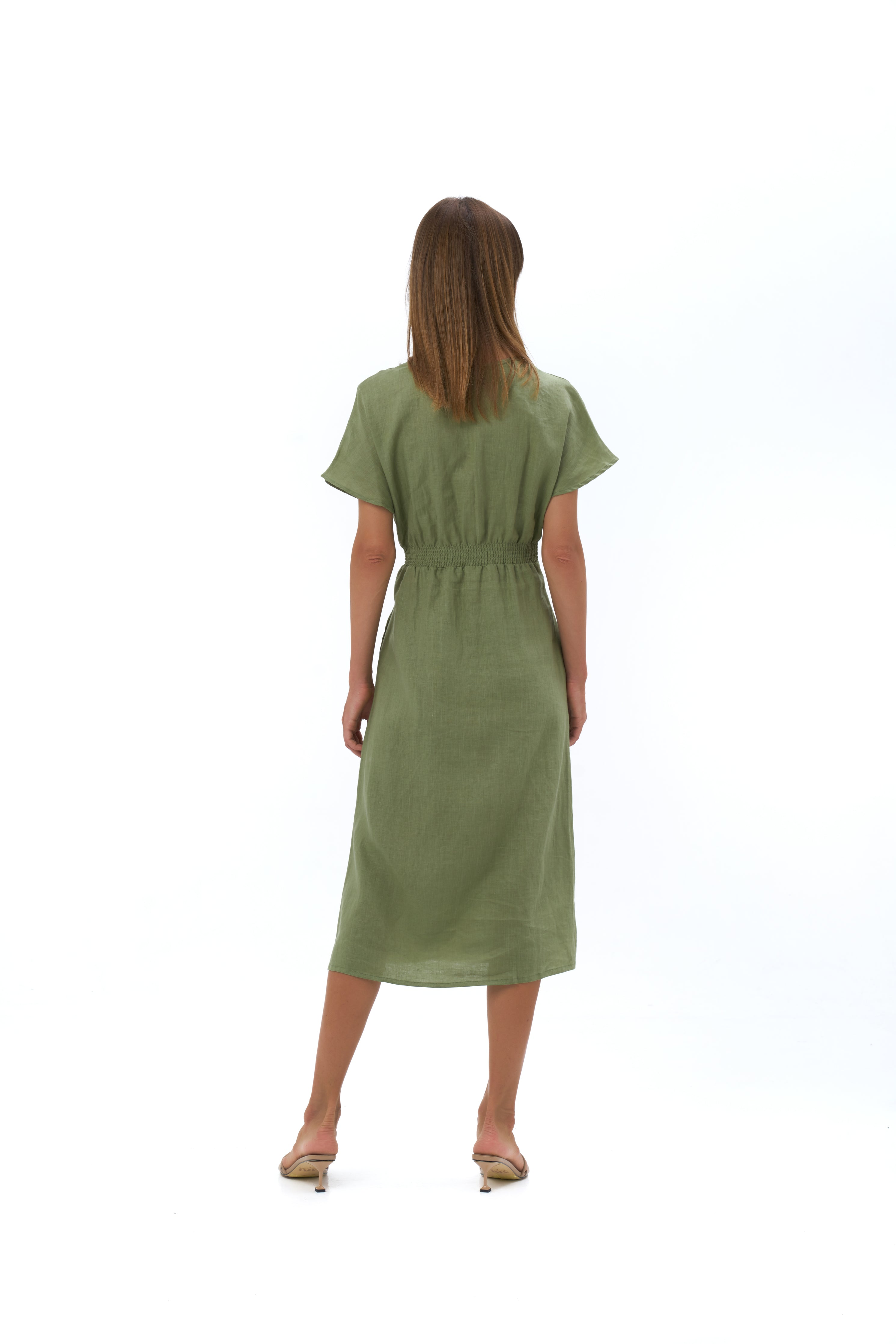 THE SUKI MIDI DRESS | TEA GREEN