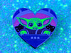 "2"" Space Baby Enamel Pin with Glitter & GLOW Accents - Dark Green"