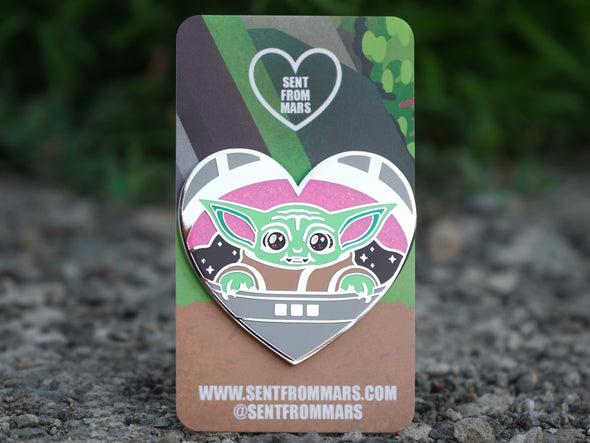 "2"" Space Baby Enamel Pin with Glitter Accents *Seconds Sale*"
