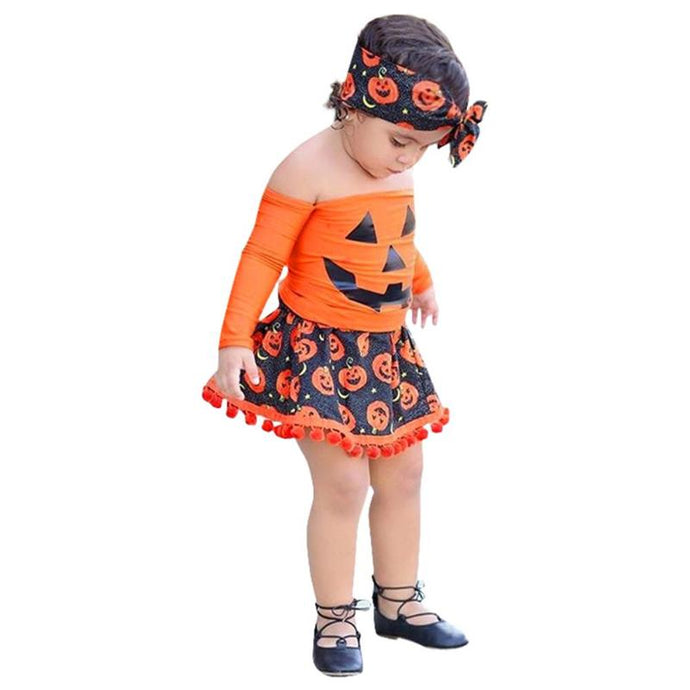 Pumpkin Print T-shirt Skirt Headband