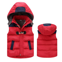 Winter Patchwork Hooded Vest Jacket