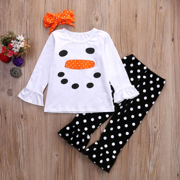 Snowman Ruffle Long Sleeve Clothes