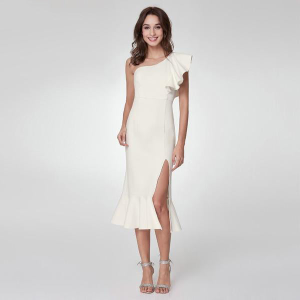 Tea Length Leg Slit Cocktail Dress
