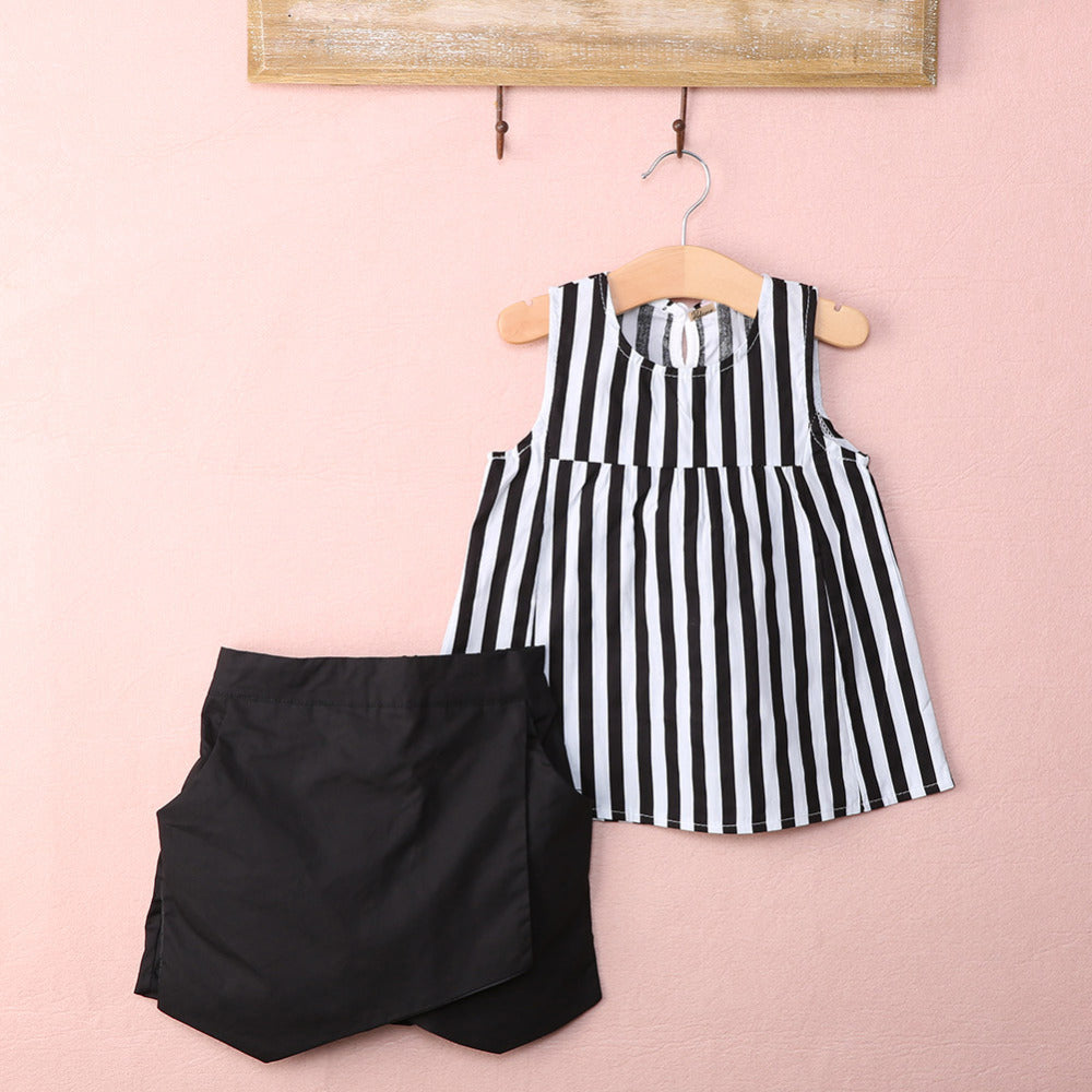 Lovely Sleeveless Striped Outfits Set