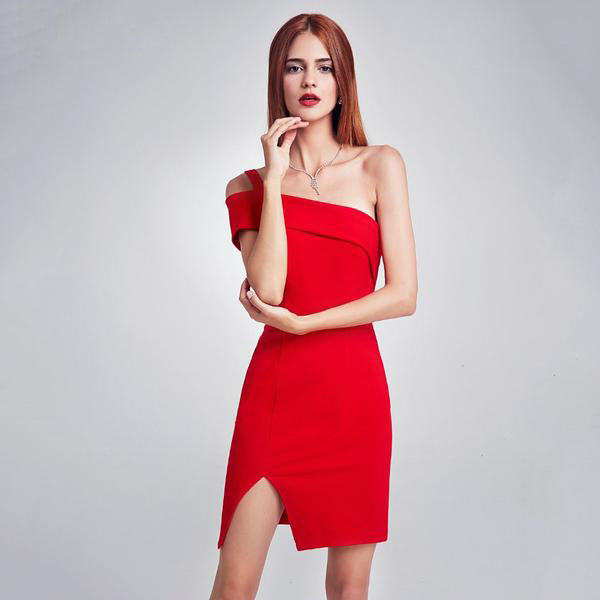One Shoulder Split Sexy Backless Dresses