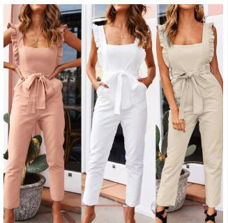 Pleated Ruffle Trim Belted Jumpsuit