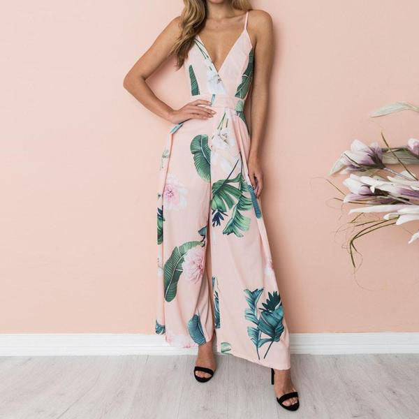 Loose Mono Print Jumpsuits