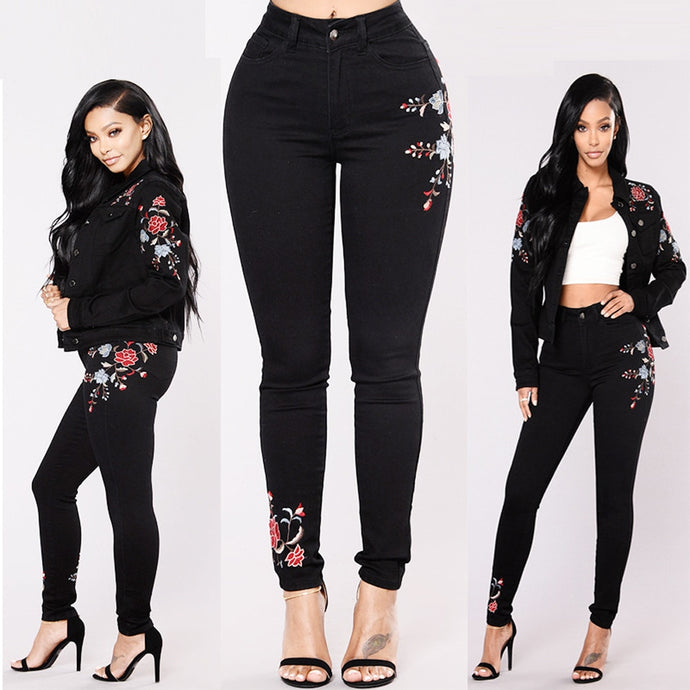 High Waist Floral Pencil Pants