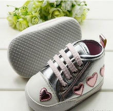 Cute Heart Silver Crib Shoes