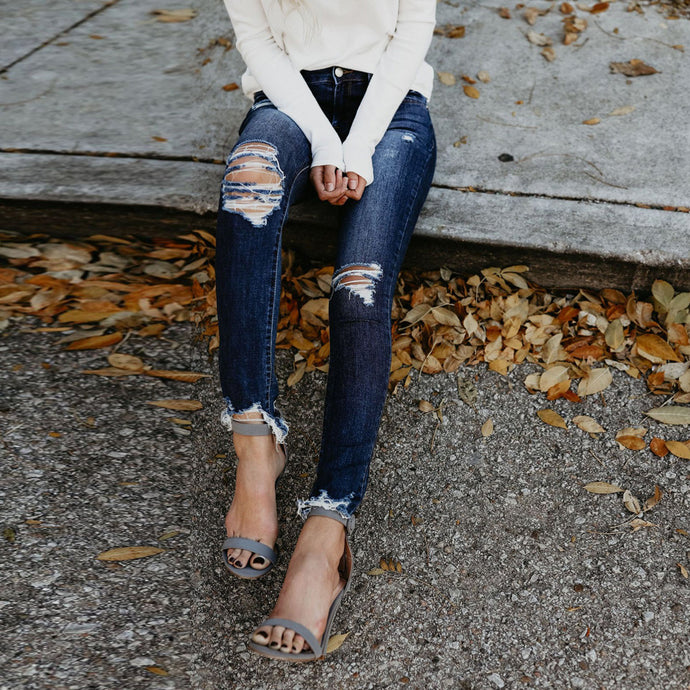 High Waisted Calf Length Jeans