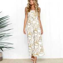 Backless Tropical Print Jumpsuit
