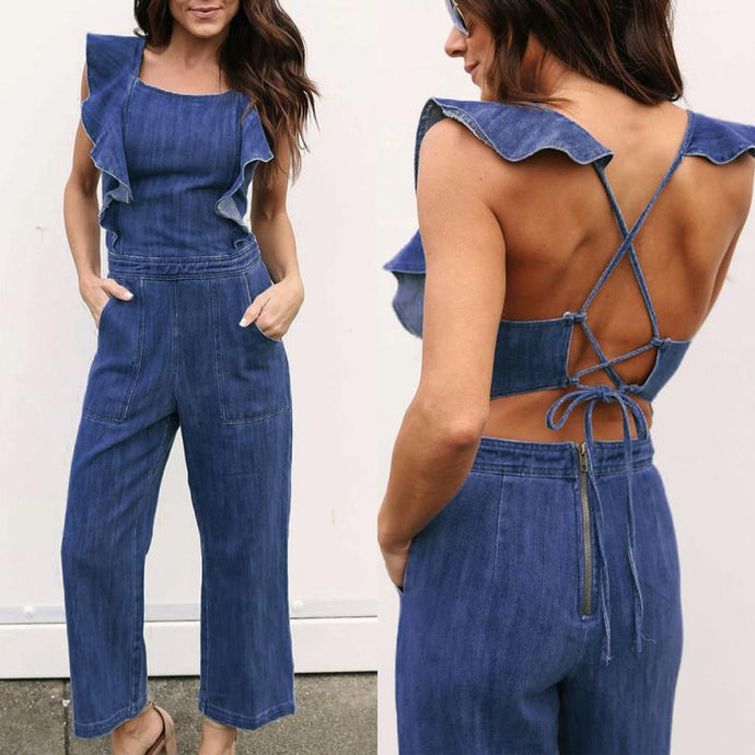 Sexy Backless Denim Jumpsuits