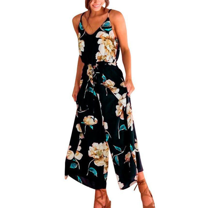 Sexy Strappy Floral Printed Lady Jumpsuit