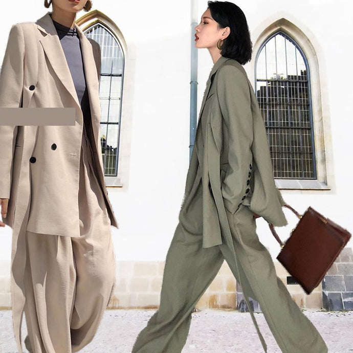 Casual Wide Leg Pants Blazer Suit