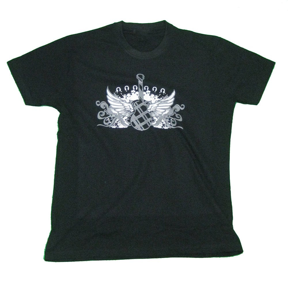Black Guitar with Wings Tee Shirt