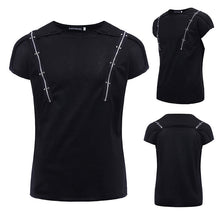 Zipper Rivets Drop Shoulder T-shirt