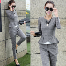 Formal Office Plaid Blazer Pants Suit