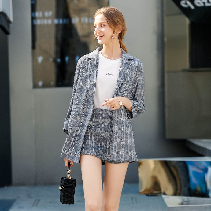 Checkered Plus Size Office Blazer Suit