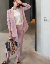 Elegant Double Breasted Blazer & High Waist Pants