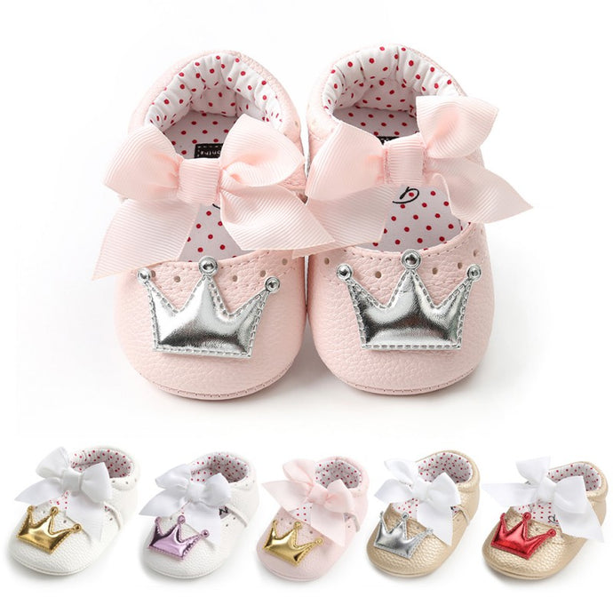 PU Cute Butterfly Crown Shoes
