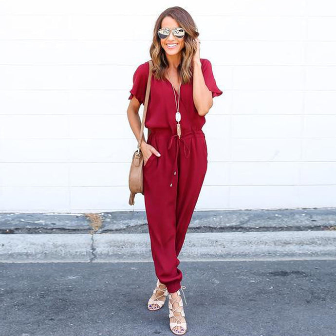 V-Neck Casual Chiffon Jumpsuits